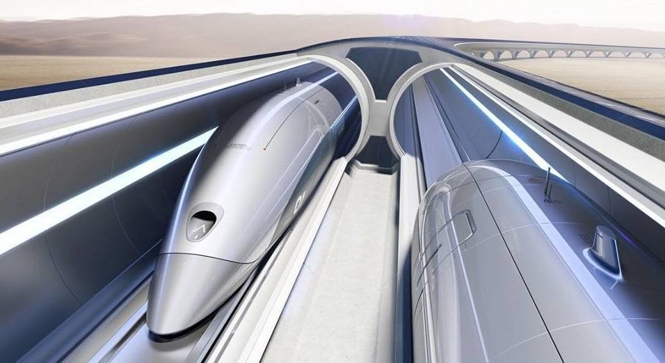 Une simulation du train sous vide d'hyperloop