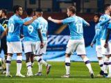 Des joueurs de Manchester City célébrant un but lors de leur victoire 3-0 conttre Arsenal, le mercredi 17 juin 2020.