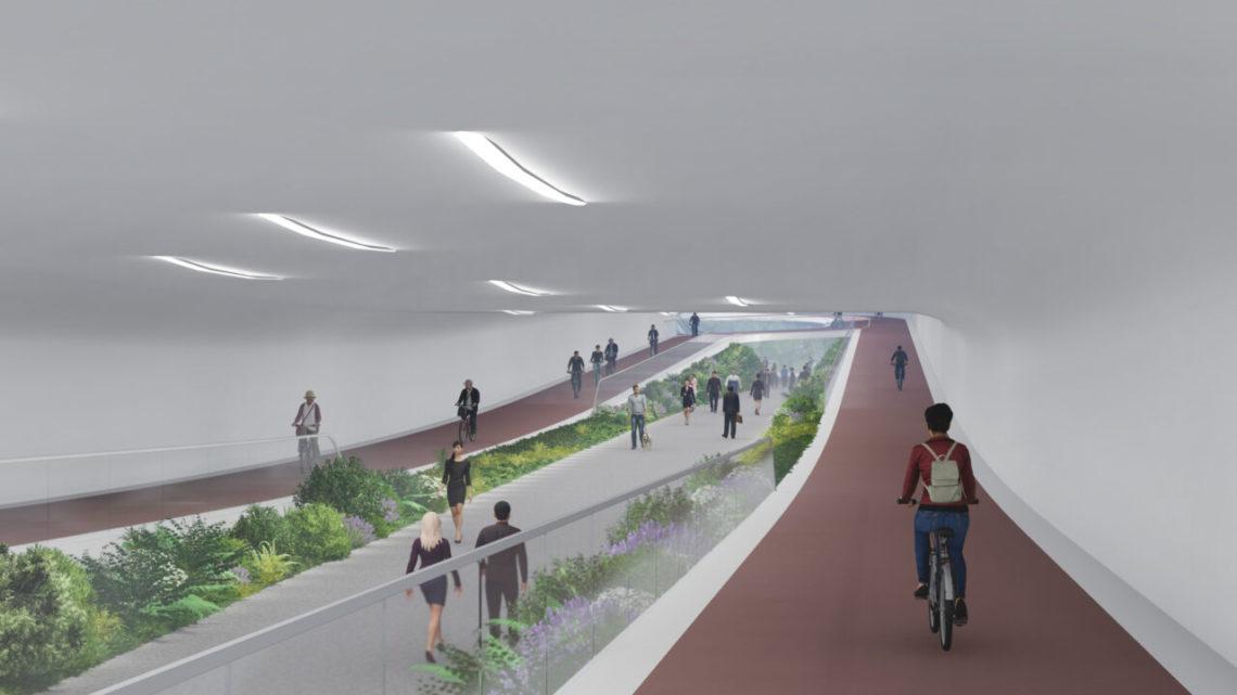 Une maquette de la piste cyclable d'Amsterdam.