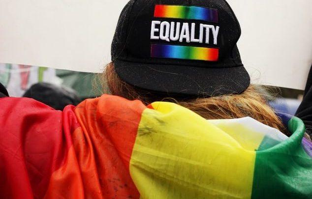 Une personne vue de dos avec un drapeau LGBT.